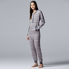 Women's Simply Vera Vera Wang Hooded One-Piece Pajamas