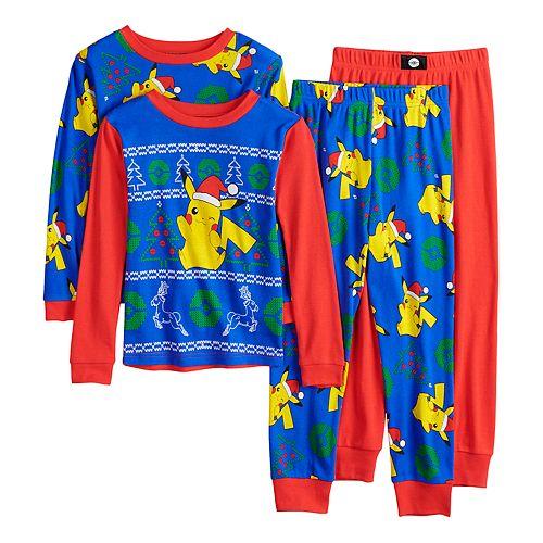 Boys Christmas Pajamas.Boys 4 10 Pokemon Christmas 4 Piece Pajamas