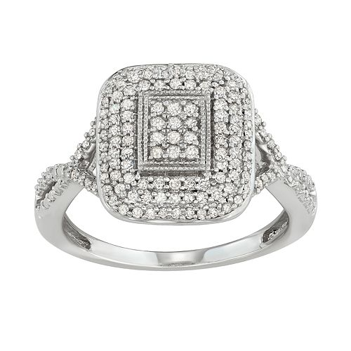 Sterling Silver 1/2 Carat T.W. Diamond Square Ring