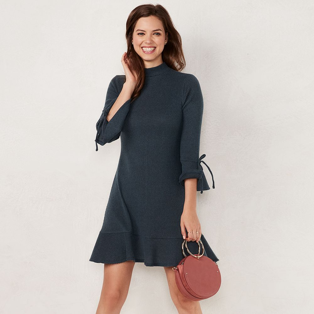 Women's LC Lauren Conrad Mockneck Flounce-Hem Sweater Dress