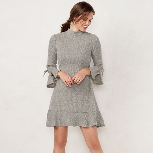 f2250a234b9 Women s LC Lauren Conrad Mockneck Flounce-Hem Sweater Dress