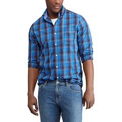 Big & Tall Chaps Classic-Fit Plaid Poplin Button-Down Shirt