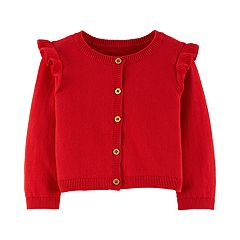 Baby Girl Carter's Ruffle Shoulder Button Front Cardigan