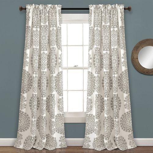 "Lush Decor 2-pack Evelyn Medallion Room Darkening Window Curtains - 52"" x 84"""