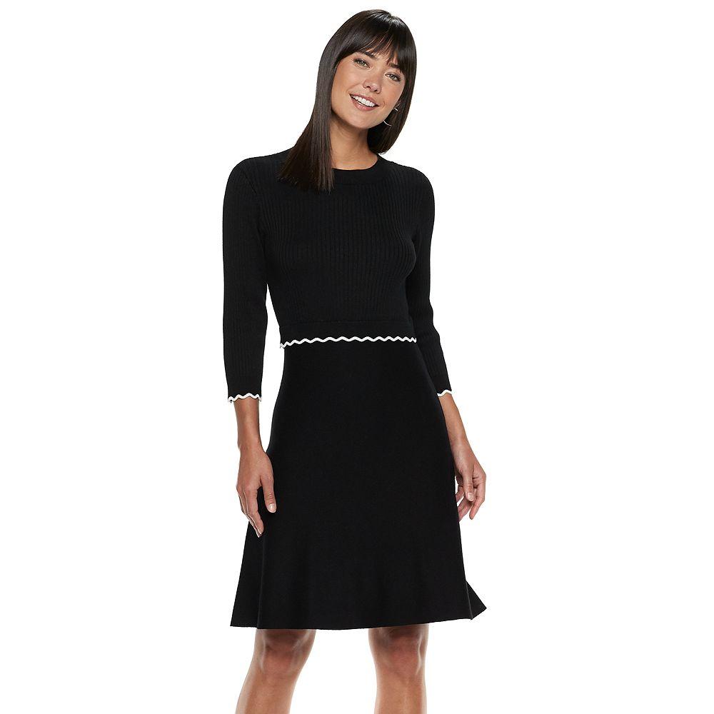 Women's ELLE™ Scalloped Sweater Dress