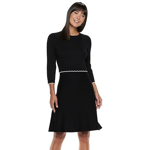 Women's ELLE™ Scalloped Sweater Dress