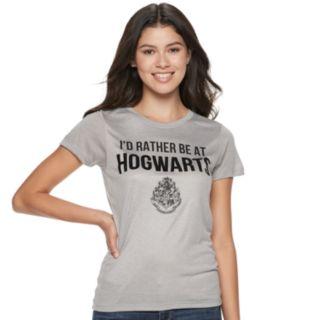 "Juniors' Harry Potter ""I'd Rather be at Hogwarts"" Tee"