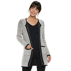 Women's ELLE™ Textured Open-Front Long Sweater Jacket