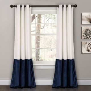 "Lush Decor 2-pack Prima Velvet Color Block Room Darkening Window Curtains - 38"" x 84"""