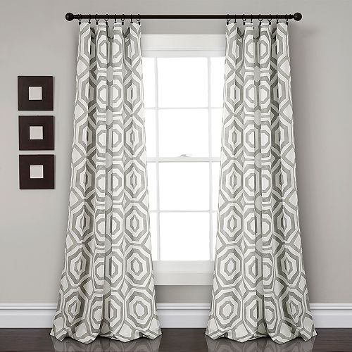 "Lush Decor 2-pack Octagon Blocks Room Darkening Window Curtains - 52"" x 84"""