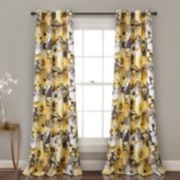 "Lush Decor 2-pack Floral Watercolor Room Darkening Window Curtains - 52"" x 84"""