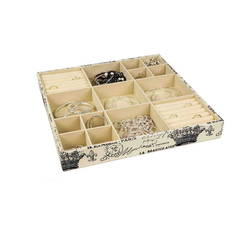 Home Basics Jumbo Paris Jewelry Organizer Store and organize your jewelry and other essentials in this Home Basics Paris open jewelry organizer. Made of printed canvas Vintage Parisian design 18 compartments to organize make-up jewelry, keys and many more home items 15''H x 15''W x 15''D Canvas, MDF Spot clean Imported Model no. DR49486 Size: Jumbo.