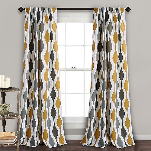 "Lush Decor 2-pack Mid Century Room Darkening Window Curtains - 52"" x 84"""