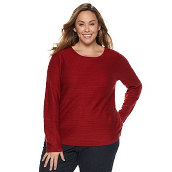 0f018d6c5a4 Plus Size Croft   Barrow® Curved Hem Sweater