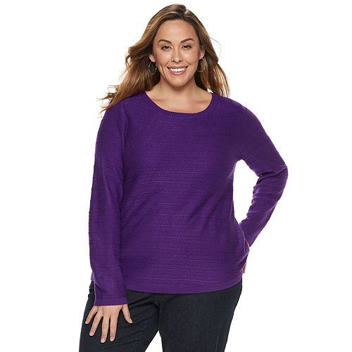 Plus Size Croft & Barrow® Curved Hem Sweater