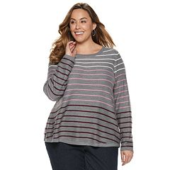 Plus Size Croft & Barrow® Curved Hem Sweater