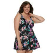 Plus Size Croft & Barrow® Thigh Minimizer Bow-Front One-Piece Swimdress