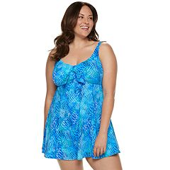 Plus Size Croft & Barrow® Thigh Minimizer Bow-Front One-Piece Swimdress
