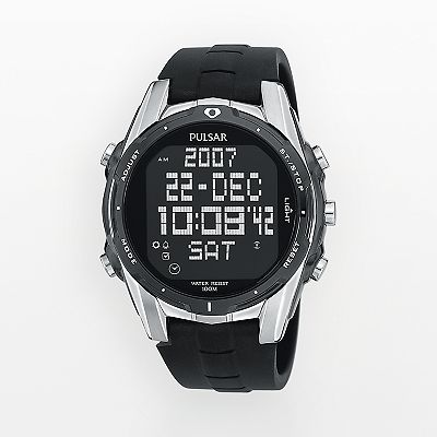 Pulsar Stainless Steel World Time Digital Sports Watch - Men