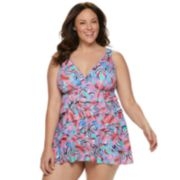 Plus Size Croft & Barrow® V-Neck Ruffle One-Piece Swimdress