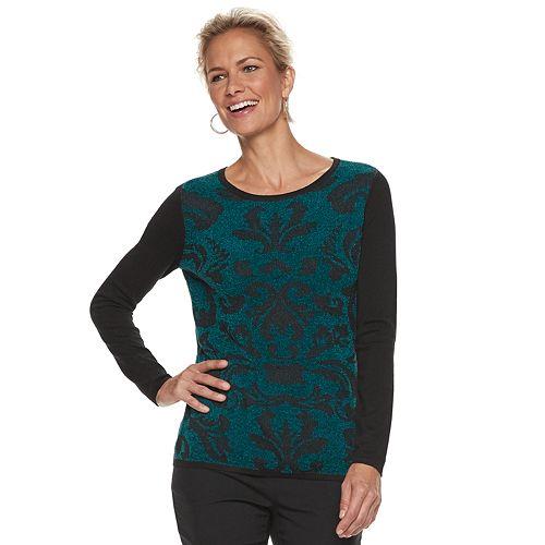 Petite Dana Buchman Scroll Chenille Sweater
