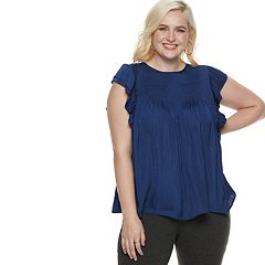 Plus Size POPSUGAR Ruffle Smocked Swing Top