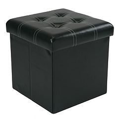 Simplify Faux-Leather Collapsible Folding Storage Ottoman