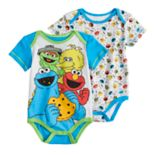 Baby Boy Sesame Street Elmo, Big Bird, Cookie Monster & Oscar 2-pack Bodysuits