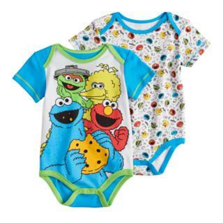 Baby Boy Sesame Street Elmo, Big Bird, Cookie Monster & Oscar 2-pack Bodysuits
