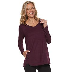 Women's Dana Buchman Everyday Casual Curved Hem V-Neck Top