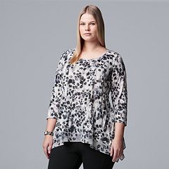Plus Size Simply Vera Vera Wang High-Low Crinkle Top