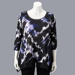 71363d5cc9e65 Plus Size Simply Vera Vera Wang High-Low Crinkle Top
