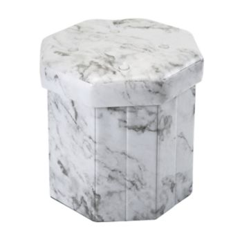 Simplify Hexagon Marble Finish Collapsible Storage Ottoman