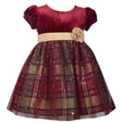Baby Girl Bonnie Jean Velvet Plaid Dress