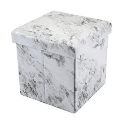 Simplify Square Marble Finish Collapsible Storage Ottoman