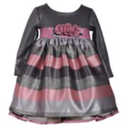 Baby Girl Bonnie Jean Jacquard Stripe Dress