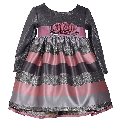 Baby Girl Bonnie Jean Jacquard Stripe Dress