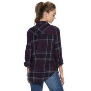 Juniors' Mudd® Lace-Up Plaid Flannel Shirt