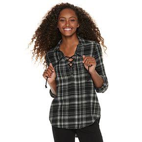 Juniors' Mudd® Lace-Up Plaid Flannel Shirt