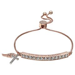 Brilliance Rose Gold Tone 'Loved and Blessed' Adjustable Bracelet with Swarovski Crystals