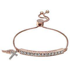 Brilliance Rose Gold Tone 'Loved and Blessed' Adjustable Bracelet with Swarovski Crystals