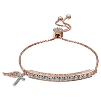 "Brilliance Rose Gold Tone ""Loved and Blessed"" Adjustable Bracelet with Swarovski Crystals"