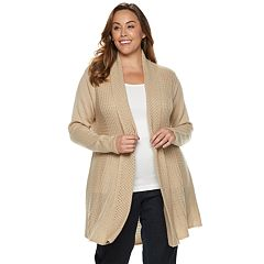 Plus Size Dana Buchman Pleated Open-Work Cardigan Sweater