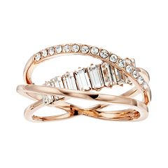 Brilliance Twist Multi Band Ring With Swarovski Crystals