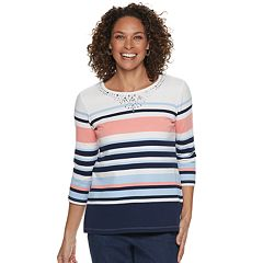 Petite Alfred Dunner Studio Embellished Striped Top