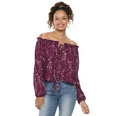 Juniors' Rewind Floral Off-the-Shoulder Top