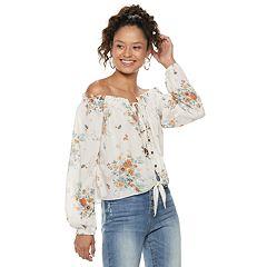 Juniors' Rewind Floral Off-the-Shoulder Top