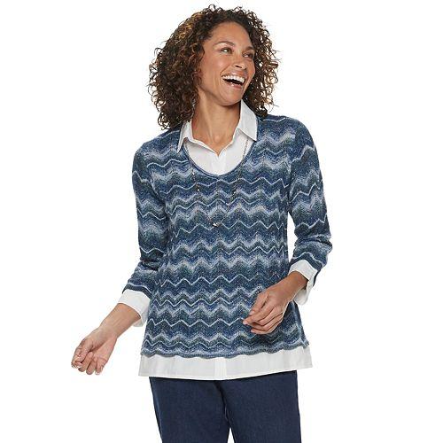 Petite Alfred Dunner Studio Chevron Mock-Layer Sweater