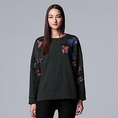 Women's Simply Vera Vera Wang Floral Embellished Sweatshirt