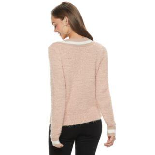 Juniors' SO® Varsity Striped V-Neck Sweater